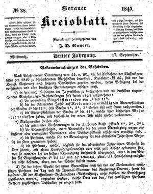 Sorauer Kreisblatt vom 17.09.1845