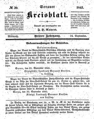 Sorauer Kreisblatt vom 24.09.1845