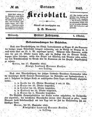 Sorauer Kreisblatt on Oct 1, 1845