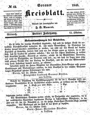 Sorauer Kreisblatt vom 15.10.1845
