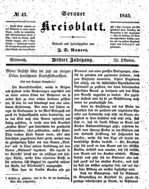 Sorauer Kreisblatt vom 22.10.1845