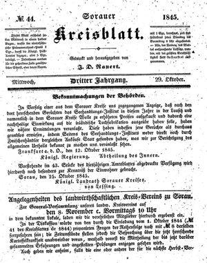 Sorauer Kreisblatt on Oct 29, 1845