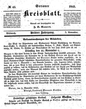 Sorauer Kreisblatt vom 05.11.1845