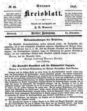Sorauer Kreisblatt on Nov 12, 1845