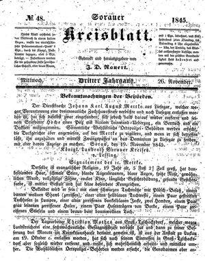 Sorauer Kreisblatt vom 26.11.1845