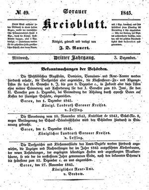 Sorauer Kreisblatt on Dec 3, 1845