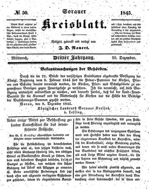 Sorauer Kreisblatt vom 10.12.1845