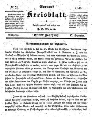 Sorauer Kreisblatt vom 17.12.1845