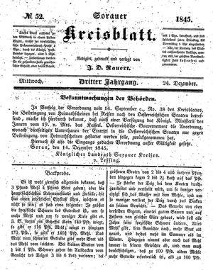 Sorauer Kreisblatt vom 24.12.1845