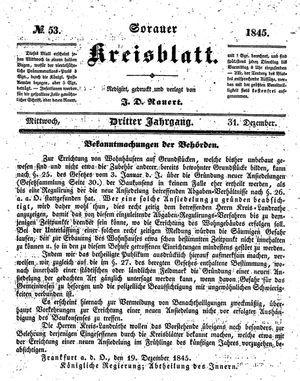 Sorauer Kreisblatt vom 31.12.1845