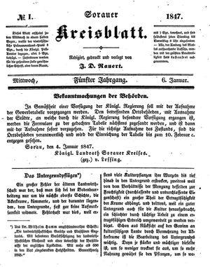 Sorauer Kreisblatt vom 06.01.1847