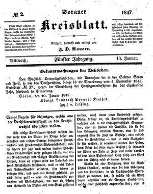 Sorauer Kreisblatt vom 13.01.1847