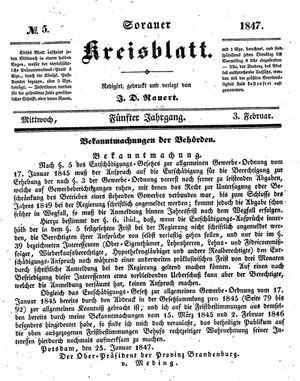 Sorauer Kreisblatt vom 03.02.1847