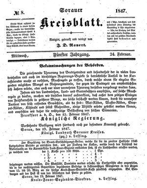 Sorauer Kreisblatt vom 24.02.1847