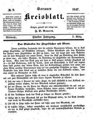 Sorauer Kreisblatt vom 03.03.1847