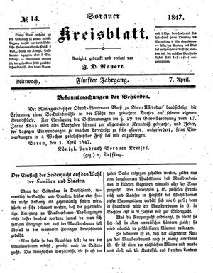 Sorauer Kreisblatt vom 07.04.1847