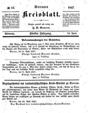 Sorauer Kreisblatt on Apr 14, 1847