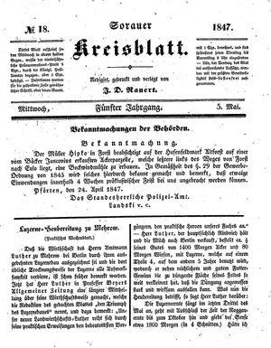 Sorauer Kreisblatt vom 05.05.1847