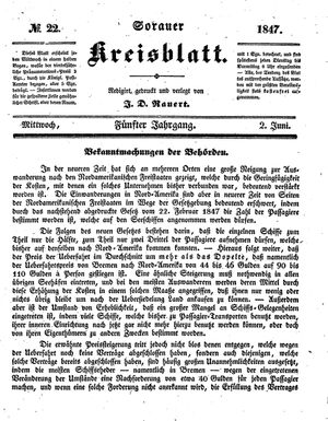 Sorauer Kreisblatt vom 02.06.1847