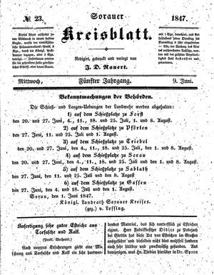 Sorauer Kreisblatt vom 09.06.1847