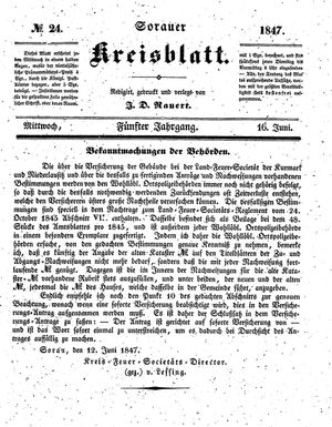 Sorauer Kreisblatt vom 16.06.1847
