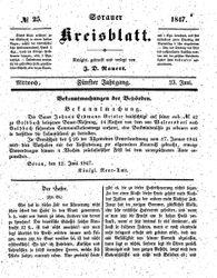 Sorauer Kreisblatt (23.06.1847)