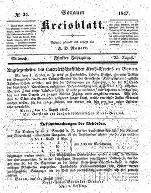 Sorauer Kreisblatt vom 25.08.1847