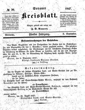 Sorauer Kreisblatt vom 08.09.1847