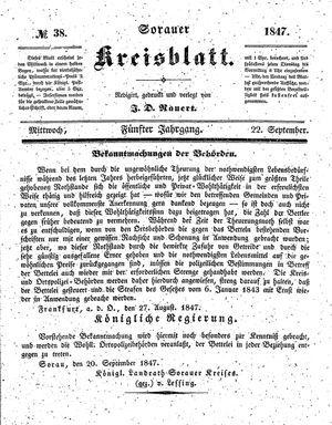 Sorauer Kreisblatt vom 22.09.1847