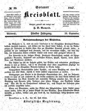 Sorauer Kreisblatt vom 29.09.1847