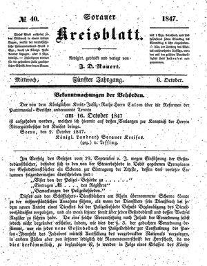 Sorauer Kreisblatt on Oct 6, 1847