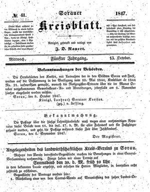 Sorauer Kreisblatt vom 13.10.1847