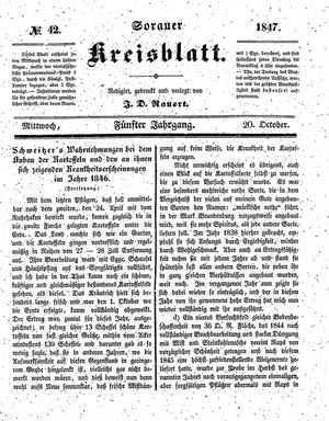 Sorauer Kreisblatt vom 20.10.1847