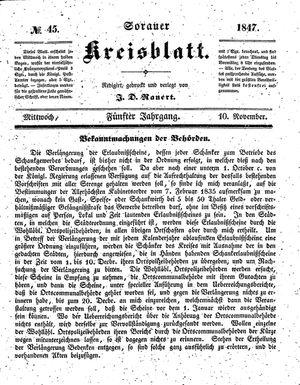 Sorauer Kreisblatt vom 10.11.1847