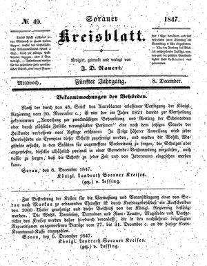 Sorauer Kreisblatt vom 08.12.1847