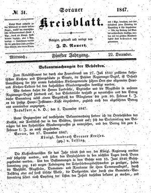 Sorauer Kreisblatt vom 22.12.1847