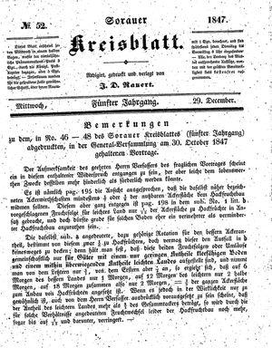 Sorauer Kreisblatt vom 29.12.1847