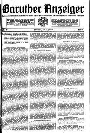 Baruther Anzeiger vom 03.01.1925