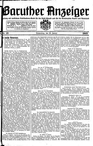 Baruther Anzeiger vom 29.01.1925
