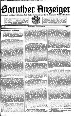 Baruther Anzeiger vom 31.01.1925
