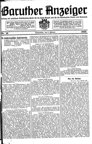 Baruther Anzeiger vom 05.02.1925