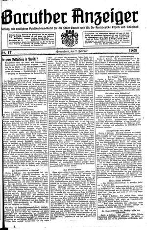Baruther Anzeiger vom 07.02.1925