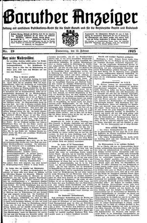Baruther Anzeiger vom 12.02.1925