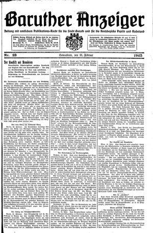 Baruther Anzeiger vom 21.02.1925
