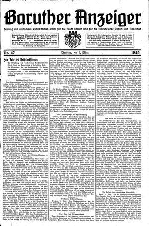 Baruther Anzeiger vom 03.03.1925