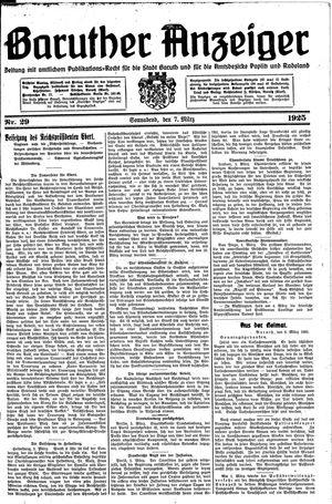 Baruther Anzeiger vom 07.03.1925