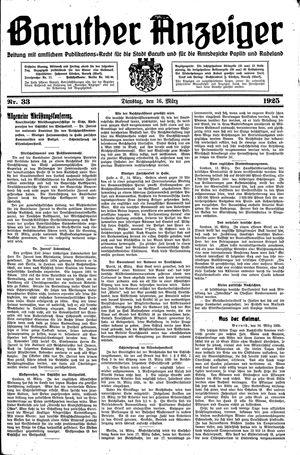 Baruther Anzeiger vom 16.03.1925