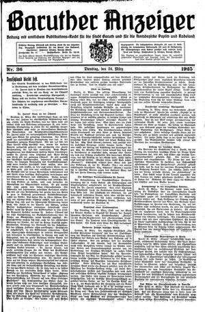 Baruther Anzeiger vom 24.03.1925