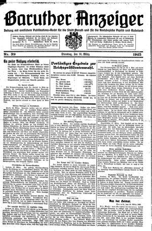 Baruther Anzeiger vom 31.03.1925