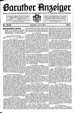 Baruther Anzeiger vom 16.04.1925